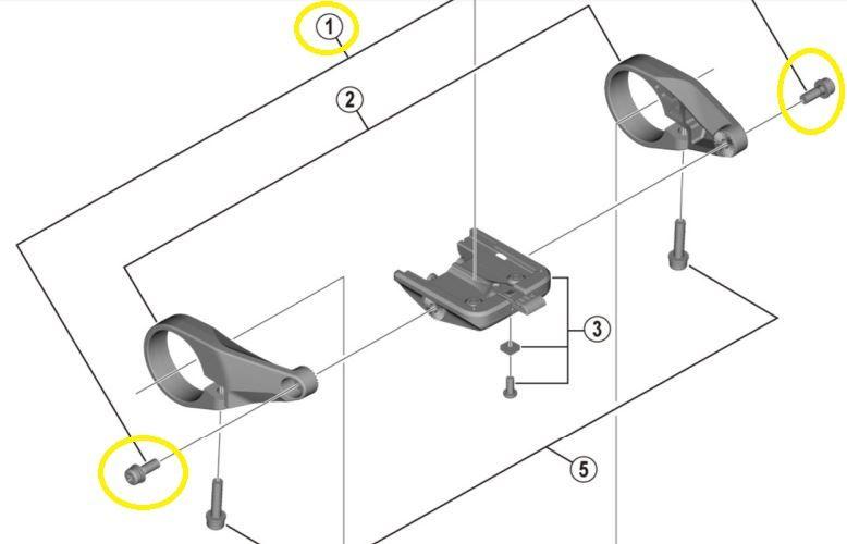 Shimano - Lot de 2 vis de fixation pour écran Shimano SC-E6100