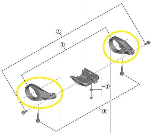 Shimano - Colliers de fixation (gauche/droite) pour écran SC-E6100
