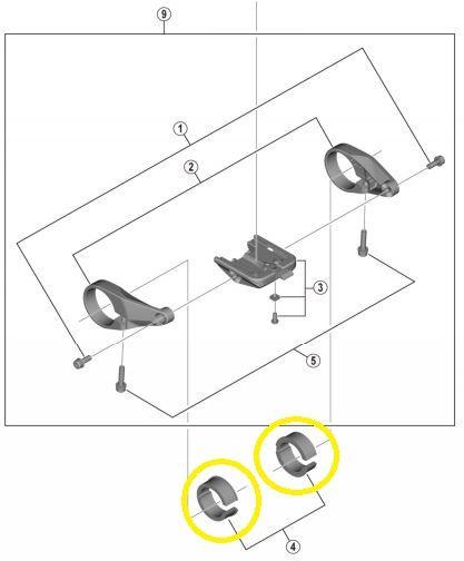 Shimano - Entretoises pour le montage du support d'écran sur guidons 25,4 mm