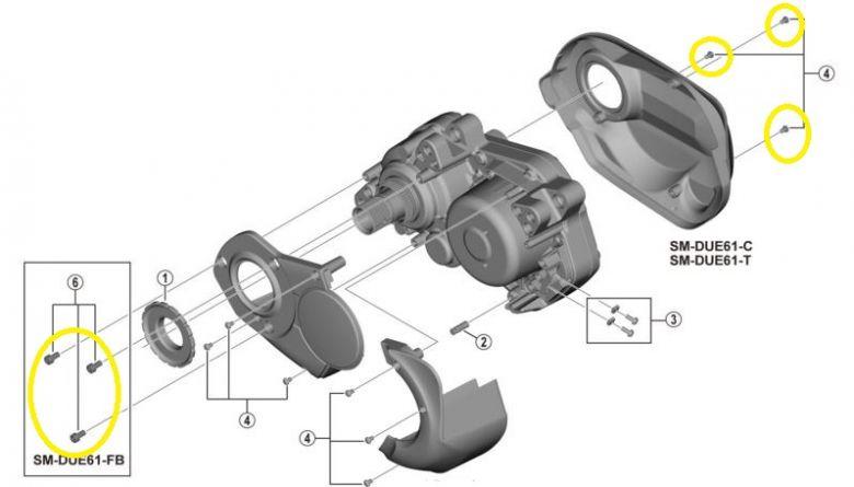 Shimano - Lot de vis pour la fixation du carter SM-DUE61 sur moteur E6100
