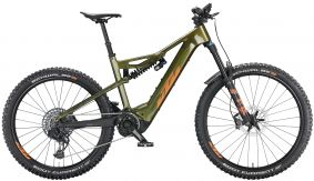 KTM Macina Prowler Prestige eMTB 2021 - green purple flip (orange + blue)