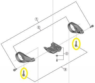 Shimano - Lot de 2 vis de fixation pour support d'écran (M4 x 15,5mm)